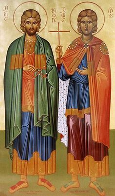 icon of Saints Florus and Laurus are venerated as Christian martyrs of the 2nd century