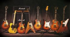 Slash collection 1. Les Paul '59 | 2. Fender Telecaster '52 | 3. Les Paul 58' Sunburst | 4. Flying V '59  5. Les Paul '59 | 6. Fender Stratocaster '65 | 7. Les Paul '59 Replica | 8. Explorer '58