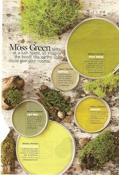 Moss Green Paint Colors, peat moss as accent? Green Paint Colors, Paint Color Schemes, Colour Pallete, Paint Colors For Home, Room Colors, House Colors, Color Combos, Color Palettes, Colours