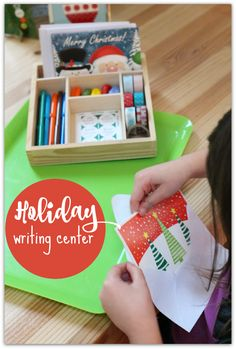 Holiday Writing Center - this could be set up either at home or in the classroom! Kids could write Christmas cards to their friends!