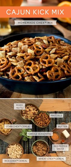 If you love Cajun cuisine, you are going to love this homemade Chex Mix recipe! Substituted fake butter, GF pretzels, added cheerios, took out wheat chex. Trail Mix Recipes, Snack Mix Recipes, Chex Mix Recipes, Appetizer Recipes, Cooking Recipes, Snack Mixes, Appetizers, Homemade Chex Mix Recipe Spicy, Hors D'oeuvres