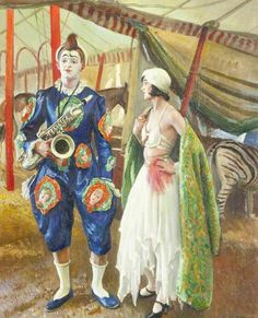 A Musical Clown, 1930 by Dame Laura Knight (English 1877-1970)
