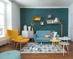 couleur de peinture murale 2015 vert canard meubles salon vintage