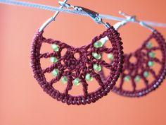 Hoop earrings handmade crochet beaded for her women by Mahalasa, $15.00