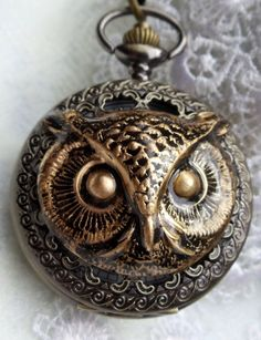 Owl pocket watch mens pocket watch with by Charsfavoritethings, $50.00