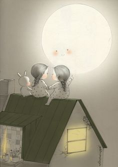 Big Moon visited us again. What will you wish for this year? Pencil Art Drawings, Art Drawings Sketches, Sweet Drawings, Friends Image, Girly Pictures, Illustrations And Posters, Whimsical Art, Cute Illustration, Anime Art Girl