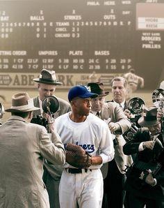 42: Jackie Robinson haciendo historia al ser el primer afroamericano en firmar con el equipo de ligas mayores, los Dodgers, bajo la guía de Branch Rickey