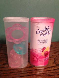 Crystal light containers turned into pacifier holders