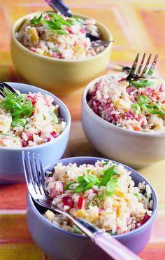 Rijstsalade met kip en cashwenoten