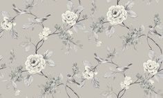Lara Taupe (414501) - Arthouse Wallpapers - A pretty, delicate floral trail with flowers and birds in soft shades of taupe brown and grey. Please request sample for true colour match.