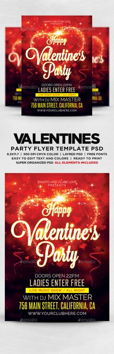 Happy Valentines Party Flyer - Flyers Print Templates