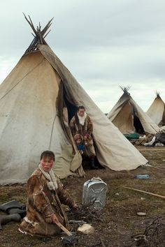 Bovanenkovo ,Yamal Peninsula, Russia, 09/07/2010..The Nenets, indigenous nomadic reindeer herders, at their overnight camp before heading no...
