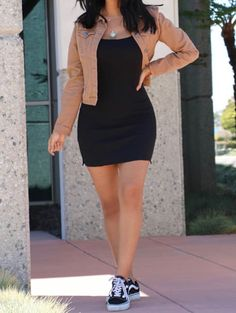 "FashionNova ""one of the boys dress� Like the dress w/vans and jacket - Daily Fashion Black Bodycon Dress Outfit, Black Dress Outfits, Summer Dress Outfits, Curvy Outfits, Skater Outfits, Trendy Summer Outfits, Stylish Outfits, Fashion Outfits, Emo Fashion"