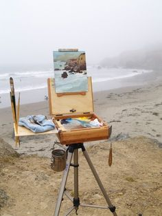Painting en plein air at the beach. (That means painting outside) :o) Art And Illustration, Landscape Illustration, Studios D'art, Art Hoe, Oeuvre D'art, Strand, Art Inspo, Painting Inspiration, Les Oeuvres