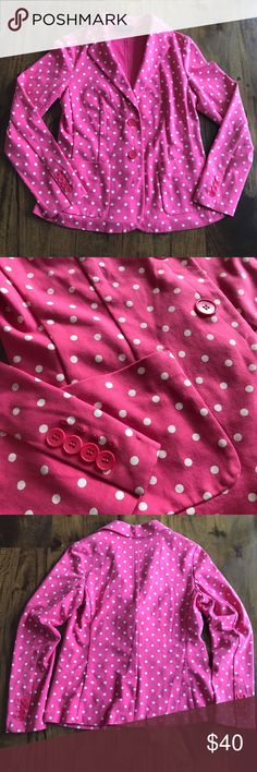 "Pink Polka Dot Talbots Blazer Pink Talbots Blazer with White Polka Dots Size petite small Like new condition Soft material 86% cotton, 14% polyester Bust 33"", length 23"", sleeves 18""  Offers welcome, no trades. Talbots Jackets & Coats Blazers"
