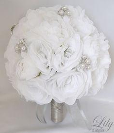 Silk Flower Wedding Bouquet Silk Wedding by LilyOfAngeles on Etsy
