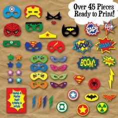 SuperHero Photo Booth Props and Decorations - Printable Props and Decorations - Over 45 Images - Digital Download- INSTaNT DOWNLoAD PLEASE NOTE: This is a digital product, NO physical product will be sent. ********************************************************************************* Welcome to OldMarket Corner! This listing is for a DIGITAL COPY of the SuperHero Photo Booth Props. Have a SUPER fun time with these SUPERHERO party Props. All you do is print them out on cardstock, cut ...
