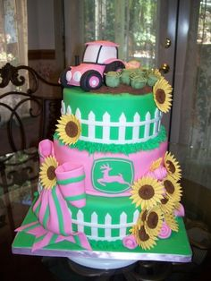 Pink Tractor By Millie1957 on CakeCentral.com