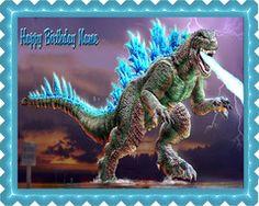 Godzilla 2 Edible Birthday Cake Topper OR Cupcake Topper, Decor