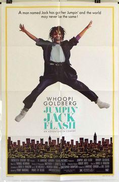 JUMPIN' JACK FLASH -WHOOPI GOLDBERG / JOHN WOOD- ORIGINAL USA 1SHT MOVIE POSTER