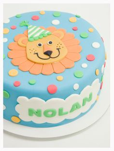 Blue with Polka Dots Birthday Lion Cake Boys First Birthday Cake, Lion Birthday, Baby Birthday Cakes, Lion Cakes, Giraffe Cakes, Little Boy Cakes, Cake Designs For Boy, Zoo Cake, Cupcake Cakes