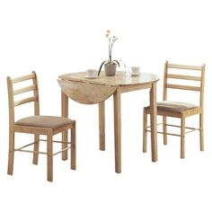 Drop Leave Dining Table - 3 Piece Set- Natural - Monarch Specialties : Target
