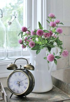 Clover In Water Pitcher & Clock