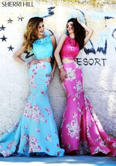 SHERRI HILL Prom Dresses 2015 # 32073 Rich floral print taffeta spans this fitted mermaid skirt and is a perfect match for our lace cropped top.