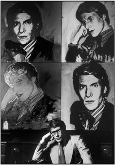 French stylist Yves SAINT-LAURENT at home, in front of a painting by Andy WARHOL. Paris, 1978. By MARTINE FRANCK. [Yves SAINT-LAURENT loves himself]