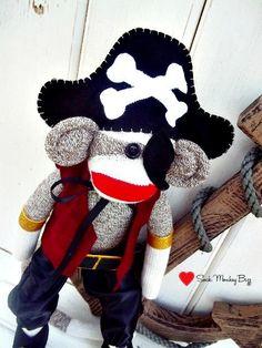 Must have for Sebastien  Sock Monkey Doll Pirate by SockMonkeyBizz on Etsy, $64.50