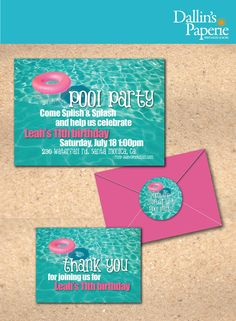 Pool Birthday Party printable Invitation  Thank by DallinsPaperie, $15.00