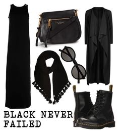 """""""BLACK NEVER FAILED"""" by mean-da on Polyvore featuring Dr. Martens, Majestic, Boohoo, Marc Jacobs, UGG and Yves Saint Laurent"""