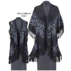 Black Rose Shawl Vest - New Age & Spiritual Gifts at Pyramid Collection