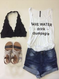 www.piaceboutique.com High Waisted Denim Shorts,  Save Water Drink Champagne Tank,  Athena Flat Sandal and Lace Halter Neck Bralette