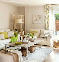 Nude and green living room.