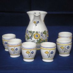 Wine set with habán motifs Bowl Set, Folk Art, Pottery, Ceramics, Wine, Drawings, Hall Pottery, Hall Pottery, Popular Art