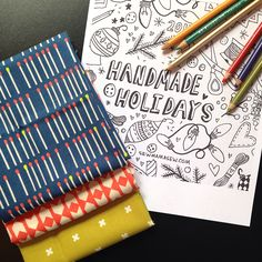 Handmade Holidays Coloring Page! Color it and share it for a chance to win Cotton + Steel!