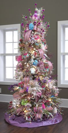 Cool 54 Colorful Christmas Decor Ideas : Cool 54 Colorful Christmas Decor With Grey Wall And Wooden Floor And Purple Christmas Tree Ornament. Beautiful Christmas Trees, Colorful Christmas Tree, Christmas Tree Themes, Noel Christmas, Pink Christmas, Christmas Candy, Winter Christmas, Whimsical Christmas, Elegant Christmas