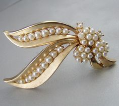 Vintage Crown Trifari Gold Tone & Faux Pearl Brooch At jujubee1, $18.00
