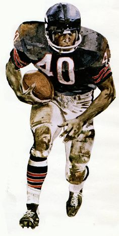 Pro Football Journal Presents: NFL Art: Gale Sayers by Merv Corning Bears Football, Nfl Football Players, Nfl Chicago Bears, Football Art, Vintage Football, Sport Football, Nfl Sports, Sports Art, Nfl Bears