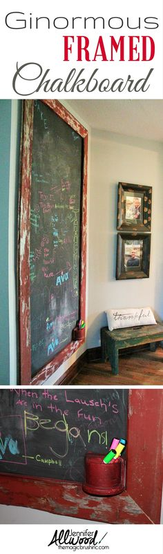 This is such a huge décor statement! An oversized chalkboard made from rolling paint on the wall and framing it in barnwood! See the tutorial at http://themagicbrushinc.com/hugechalkboard/ . Be sure to sign up for Magic Brush emails to get other diy ideas sent right to your inbox!