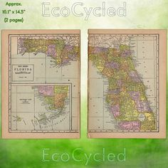Vintage Atlas Map of 1920 Florida Antique Map full by EcoCycled
