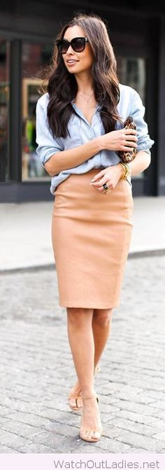 Nude skirt and sandals with denim shirt