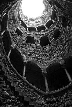"""preciousandfregilethings:  artemisdreaming: Masonic Initiation Well in Quinta da Regaleira, Sintra - Portugal Carlos CaetanoHERE Desciption and image from Fine Art America (10 World Staircases 