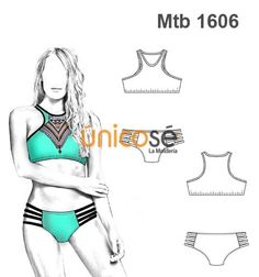 BIKINI SOSTEN DEPORTIVO Y PABILOS EN CADERAS MUJR Swimsuit Pattern, Bra Pattern, Bikini Mode, Fashion Templates, Made Clothing, Dress Sewing Patterns, Learn To Sew, Bikini Fashion, Swimsuits