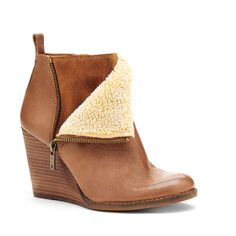 Women's Almond Creme Leather 3 1/4 Inch Wedge Bootie | Yorque by Lucky Brand ($139)