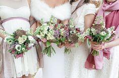 pretty white pink wedding flowers