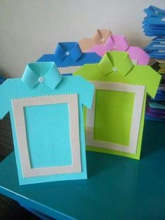 dıy father's day card ıdeas and gift pairings « funnycrafts Make them look like Girl Scout vests dia do pai us wp-content uploads 2016 06 So cute frame for fathers day Kids Crafts, Toddler Crafts, Diy And Crafts, Paper Crafts, Diy Birthday Cards For Dad, Photo Frame Crafts, Cadeau Parents, Father's Day Diy, Dad Day
