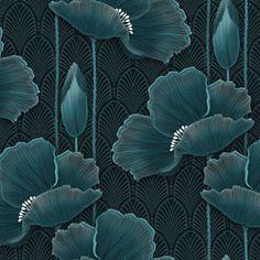Art Deco Wallpaper, Textured Wallpaper, Wallpaper Stickers, Wallpaper Designs, Kitty Wallpaper, Flower Wallpaper, Teal Art, How To Start Yoga, Fabric Art