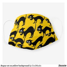 Angry cat on yellow background cloth face mask Crazy Cat Lady, Crazy Cats, Angry Cat, Shape Of You, Yellow Background, Grumpy Cat, Snug Fit, Sensitive Skin, First Love